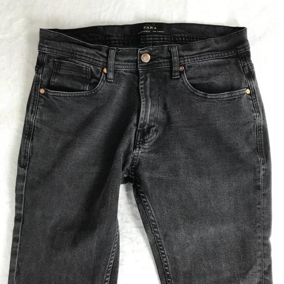 Zara High Rise Skinny Jean Size 32 Black Denim